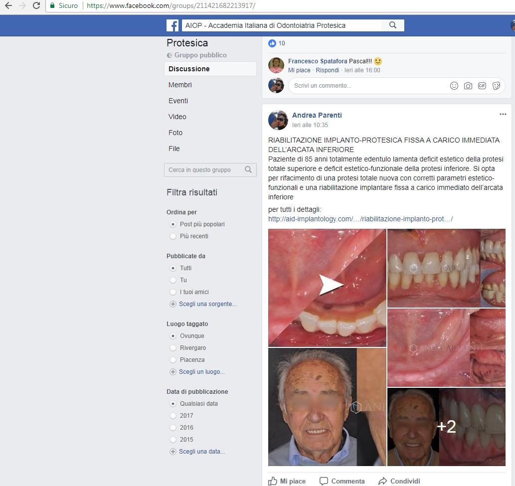 Un nostro caso clinico pubblicato sulla pagina del gruppo FB di Aiop